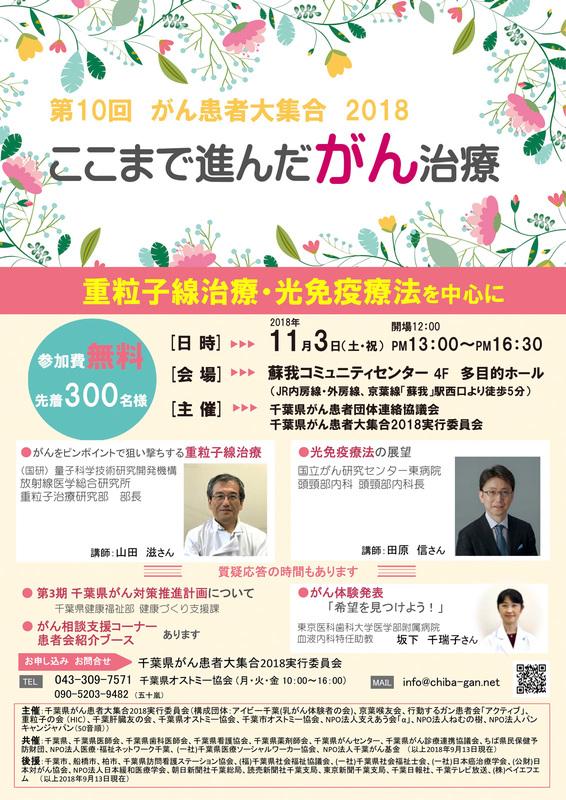 第10回 千葉県がん患者大集合2018 | 千葉県がん患者団体連絡協議会
